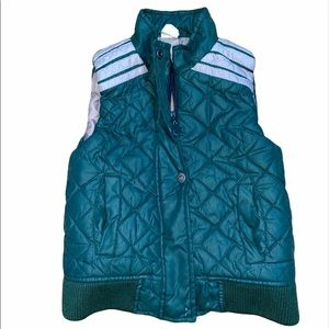 Appaman Boys SZ 4 Quilted Green Vest Gray Stripes